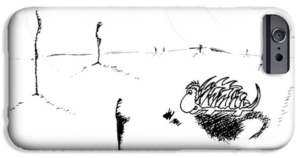 Childlike Drawings iPhone Cases - In the Middle of Nowhere iPhone Case by Jera Sky