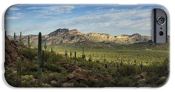 Red Rock iPhone Cases - In The Valley of Saguaro  iPhone Case by Saija  Lehtonen