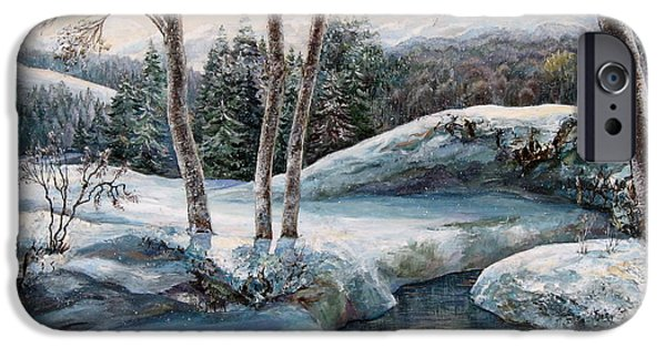 Snow iPhone Cases - In the winter in Carpathians.  iPhone Case by Maya Bukhina