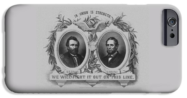 U.s Heroes iPhone Cases - In Union Is Strength - Ulysses S. Grant and Schuyler Colfax iPhone Case by War Is Hell Store