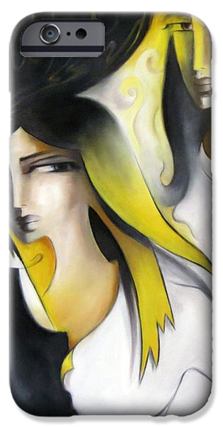 Young Paintings iPhone Cases - In Yellow iPhone Case by Sajida Hussain