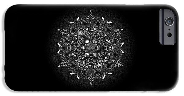 Black And White Drawings iPhone Cases - Inclusion iPhone Case by Matthew Ridgway