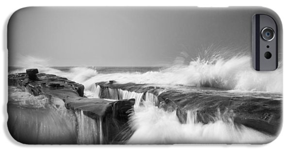 Beach iPhone Cases - Incoming  La Jolla Rock Formations Black and White iPhone Case by Scott Campbell