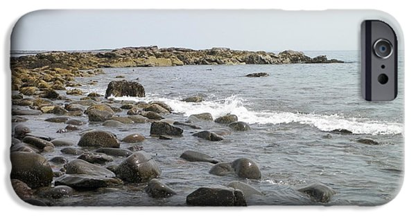 Ledge iPhone Cases - Incoming Tide At Pebble Beach iPhone Case by Gina Sullivan