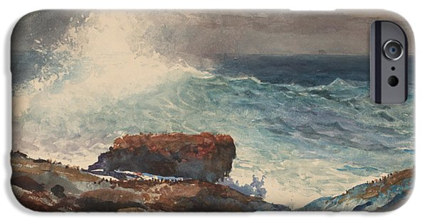 Incoming Tide iPhone Cases - Incoming Tide - Scarboro - Maine iPhone Case by Winslow Homer