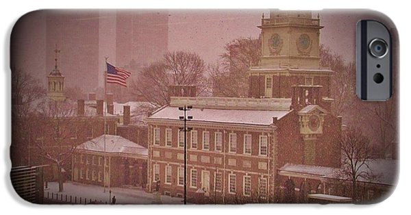 Declaration Of Independance Digital iPhone Cases - Independence Hall in the Snow iPhone Case by Bill Cannon