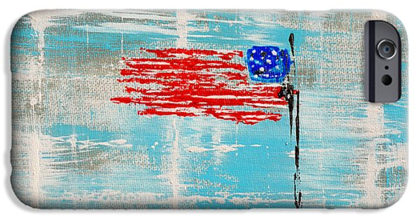 4th July Paintings iPhone Cases - Independence With Clouds iPhone Case by Alys Caviness-Gober