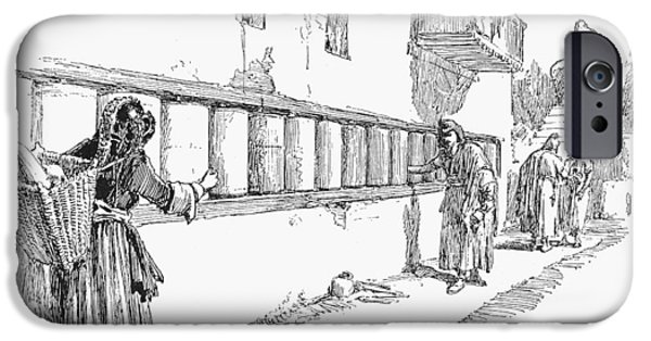 Tibetan Buddhism iPhone Cases - India: Prayer Wheel, 1895 iPhone Case by Granger
