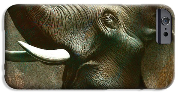 Royal Paintings iPhone Cases - Indian Elephant 3 iPhone Case by Jerry LoFaro