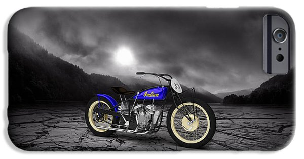Mountain Valley iPhone Cases - Indian Motorcycle Flat Track Racer 1928 Mountains iPhone Case by Aged Pixel