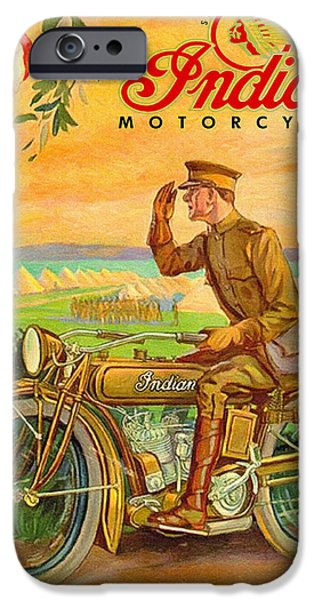 World War One Paintings iPhone Cases - Indian Motorcycles World War One Vintage Ad iPhone Case by Big 88 Artworks