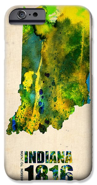 Indiana Art iPhone Cases - Indiana Watercolor Map iPhone Case by Naxart Studio