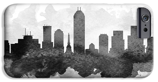 Indianapolis iPhone Cases - Indianapolis Cityscape 11 iPhone Case by Aged Pixel
