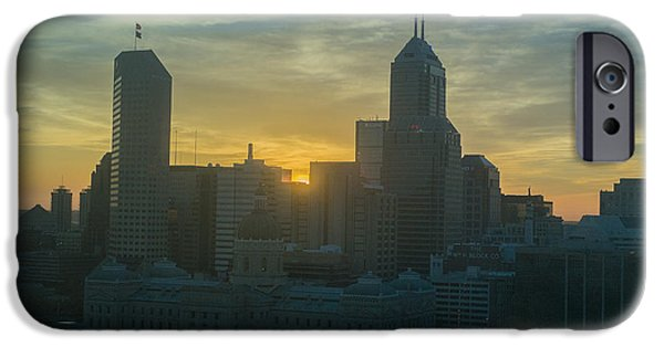 Monument Circle iPhone Cases - Indianapolis Indiana Skyline 19Fa iPhone Case by David Haskett