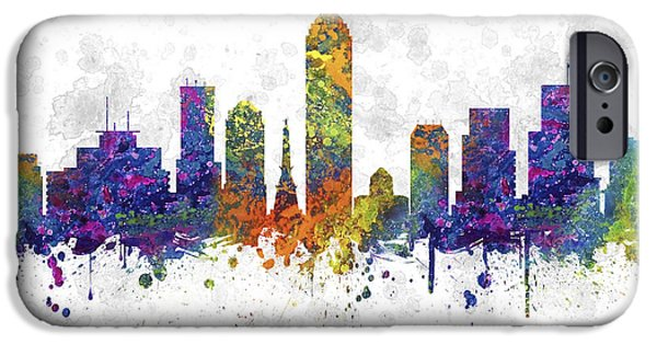 Indianapolis iPhone Cases - Indianapolis Indiana skyline Color 03SQ iPhone Case by Aged Pixel