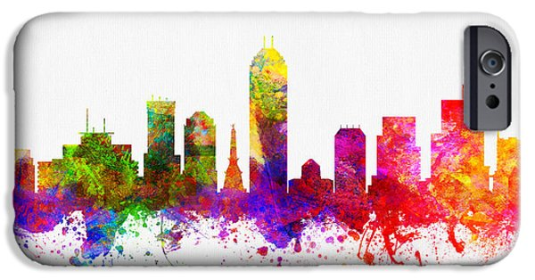 Indianapolis iPhone Cases - Indianapolis Indiana Skyline Color02 iPhone Case by Aged Pixel