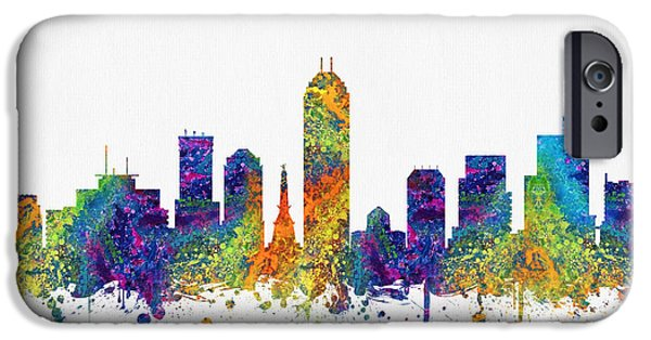 Indianapolis iPhone Cases - Indianapolis Indiana skyline color03 iPhone Case by Aged Pixel
