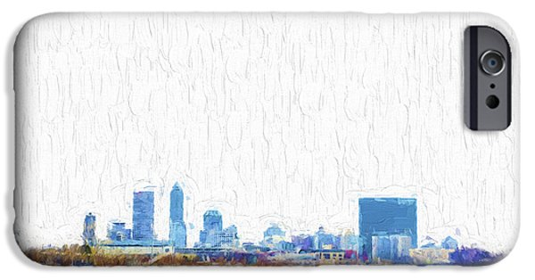 Monument Circle iPhone Cases - Indianapolis Indiana Skyline Creative Blue iPhone Case by David Haskett