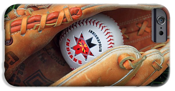 Baseball Glove iPhone Cases - Indianapolis Indians baseball iPhone Case by Steve  Gass