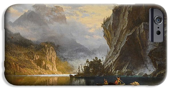 Hudson River iPhone Cases - Indians Spear Fishing 1862 iPhone Case by Albert Bierstadt