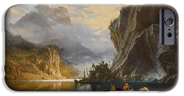 Canoe Waterfall Paintings iPhone Cases - Indians  Spear  Fishing iPhone Case by Celestial Images