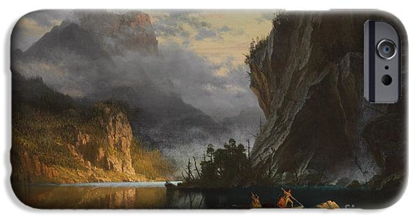 River View Paintings iPhone Cases - Indians spear fishing iPhone Case by Albert Bierstadt