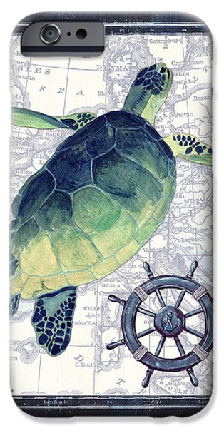 Maps Paintings iPhone Cases - Indigo Maritime 1 iPhone Case by Debbie DeWitt