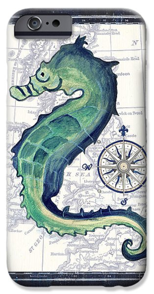 Sea Animals iPhone Cases - Indigo Maritime 2 iPhone Case by Debbie DeWitt