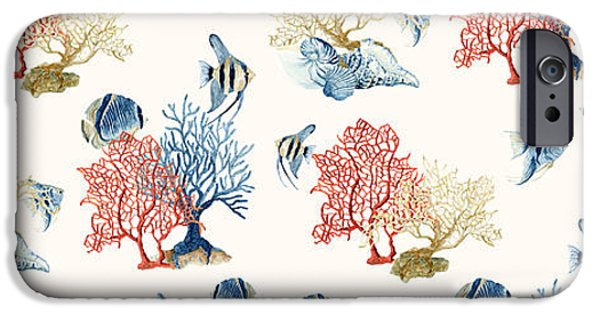 Angel Blues iPhone Cases - Indigo Ocean - Coral Reef w Sea Shells n Angel Fish iPhone Case by Audrey Jeanne Roberts
