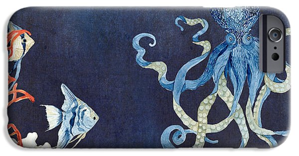 Angel Blues Paintings iPhone Cases - Indigo Ocean - Floating Octopus iPhone Case by Audrey Jeanne Roberts