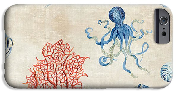 Jelly Fish iPhone Cases - Indigo Ocean - Red Coral Octopus Half Drop Pattern iPhone Case by Audrey Jeanne Roberts