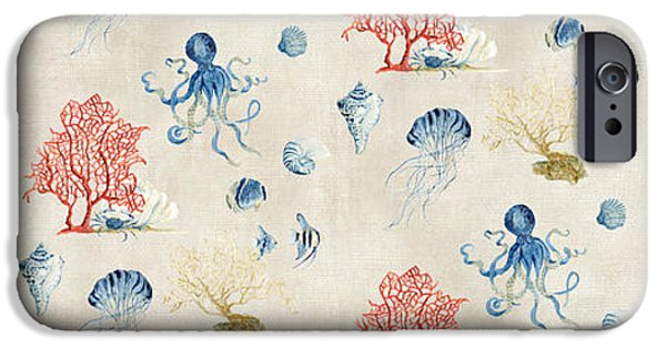 Jelly Fish iPhone Cases - Indigo Ocean - Red Coral Octopus Half Drop Pattern Small iPhone Case by Audrey Jeanne Roberts