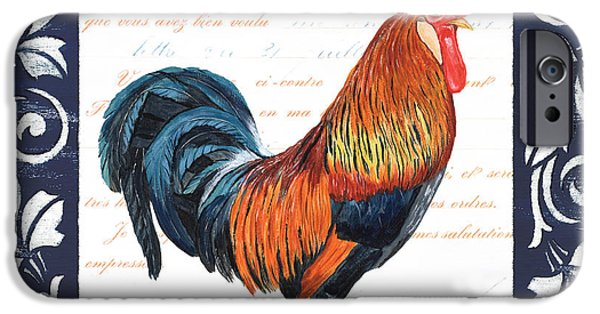 Morning iPhone Cases - Indigo Rooster 1 iPhone Case by Debbie DeWitt