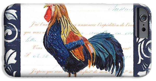Morning iPhone Cases - Indigo Rooster 2 iPhone Case by Debbie DeWitt