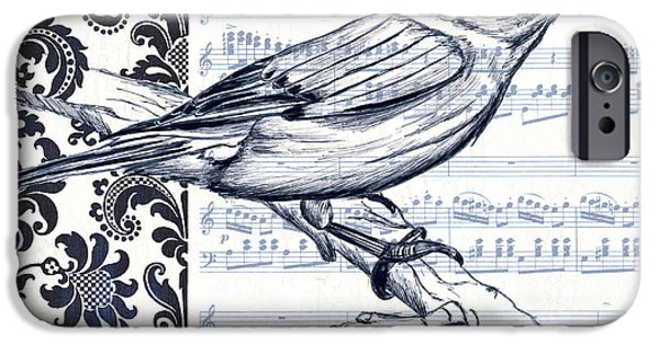 Aviary iPhone Cases - Indigo Vintage Songbird 1 iPhone Case by Debbie DeWitt