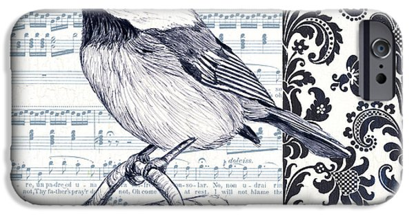 Aviary iPhone Cases - Indigo Vintage Songbird 2 iPhone Case by Debbie DeWitt
