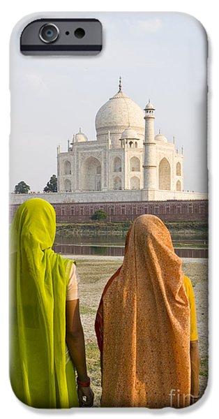 indu women at the Taj Mahal iPhone Case by Bill Bachmann - Printscapes