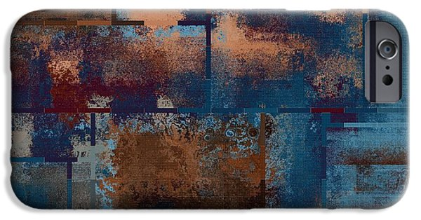 Blue Abstracts iPhone Cases - Industrial Abstract - 15t03 iPhone Case by Variance Collections
