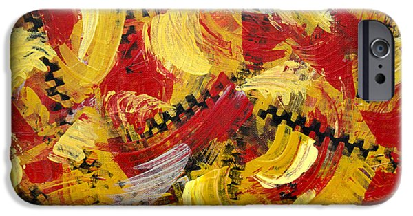 Mechanics Paintings iPhone Cases - Industrial Abstract Painting III iPhone Case by Christina Rollo