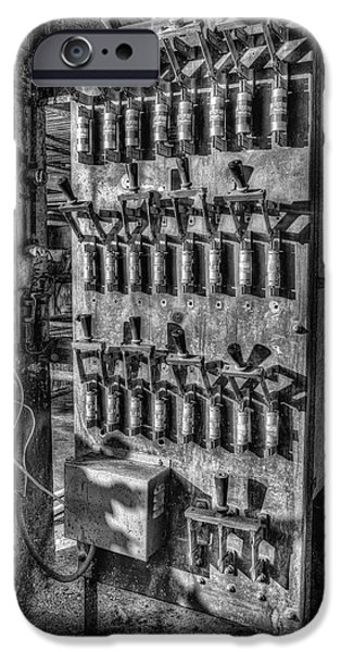 Electrician iPhone Cases - Industrial Electrical Panel IIBW iPhone Case by Susan Candelario