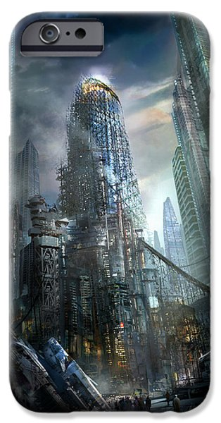 Skyscraper Mixed Media iPhone Cases - Industrialize iPhone Case by Philip Straub