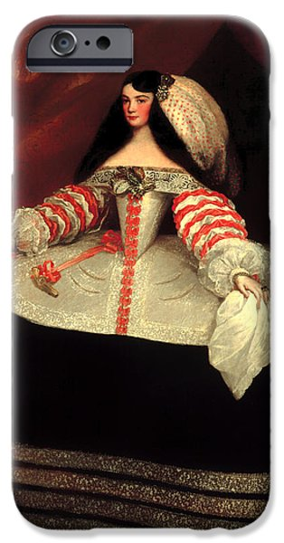 Countess iPhone Cases - Inez de Zuniga - Countess of Monterrey iPhone Case by Juan Carreno De Miranda