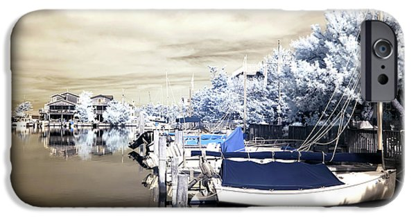Boats At The Dock iPhone Cases - Infrared Boats at LBI iPhone Case by John Rizzuto