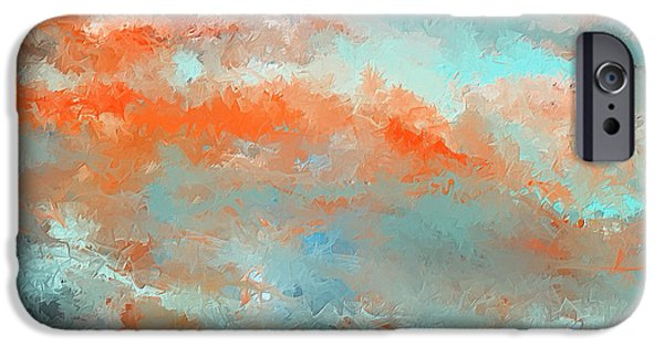 Terra Paintings iPhone Cases - Infused Energy- Turquoise And Orange Art iPhone Case by Lourry Legarde