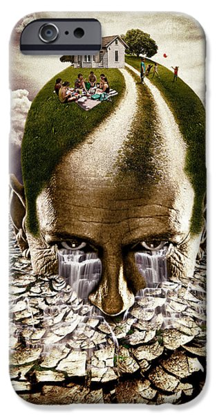 Strange Mixed Media iPhone Cases - Inhabited Head iPhone Case by Marian Voicu