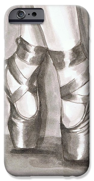 Ballerina Artwork iPhone Cases - Ink Wash en Pointe iPhone Case by Sarah Farren