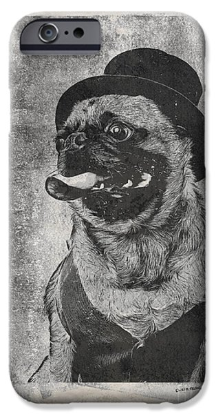 Canine Mixed Media iPhone Cases - Inky Pug iPhone Case by Edward Fielding