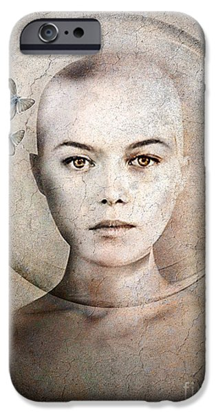 Face Mixed Media iPhone Cases - Inner World iPhone Case by Photodream Art