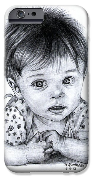 Hyperrealistic iPhone Cases - Innocent Baby Pencil Drawing iPhone Case by Santhosh Skp