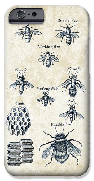 Bee iPhone Cases - Insects - 1792 - 14 iPhone Case by Aged Pixel
